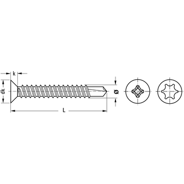 Countersunk head drilling screw